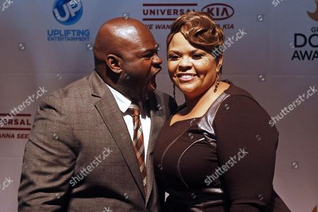 David Mann and Tamela Mann arrive at the 44th Annual GMA Dove Awards at the Lipscomb University's Allen Arena on in Nashville, Tenn