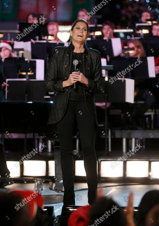 Monica Mancini performs at the 5th annual Holiday Tree Lighting at L.A. Live and opening of LA Kings Holiday Ice, in Los Angeles