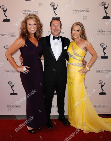 Stock Image of From left, Arriane Alexander, of LA36, Joseph McDonald, of CityTV of Santa Monica, and Tamara Henry, of CityTV of Santa Monica, arrive at the 65th Los Angeles Area Emmy Awards at the Leonard H. Goldenson Theatre, in Los Angeles