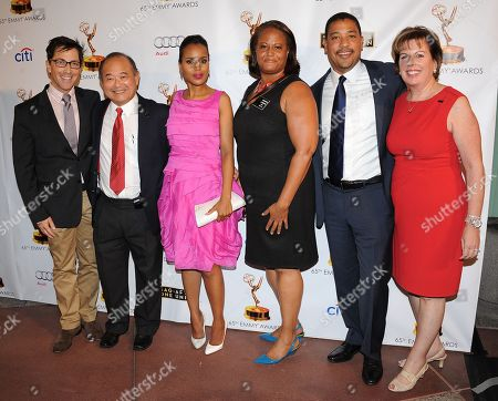 From left, Dan Bucatinsky, Clyde Kusatsu, Kerry Washington, Sharon Liggins, David White and Ilyanne Morden Kichaven arrive at the Academy of Television Arts & Sciences Dynamic & Diverse 65th Emmy Awards Nominee Celebration, on in North Hollywood, Calif