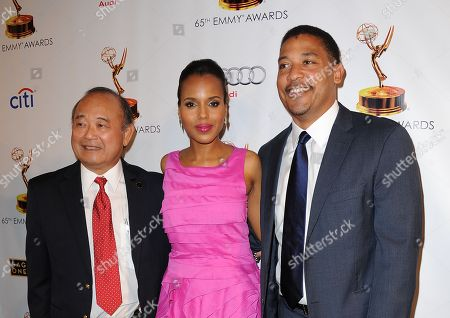 From left, Clyde Kusatsu, Kerry Washington and SAG-AFTRA National Executive Director David White arrive at the Academy of Television Arts & Sciences Dynamic & Diverse 65th Emmy Awards Nominee Celebration, on in North Hollywood, Calif