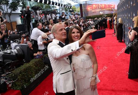 Patrick Fabian, left, and Mandy Fabian arrive at the 68th Primetime Emmy Awards, at the Microsoft Theater in Los Angeles