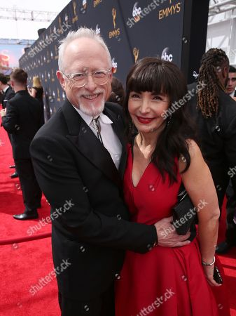 Robert Schenkkan, left, and Maria Dahvana Headley arrive at the 68th Primetime Emmy Awards, at the Microsoft Theater in Los Angeles