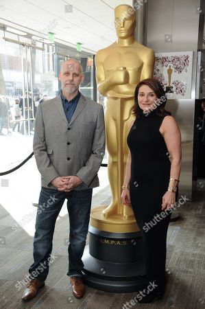 David White, left, and Elizabeth Yianni-Georgiou pose at the 87th Academy Awards - Make Up And Hairstyling Reception at the Samuel Goldwyn Theater, in Los Angeles
