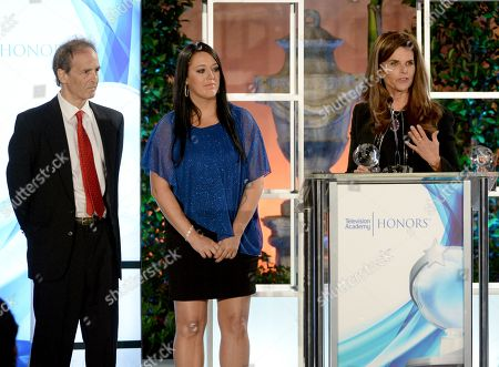 """Nick Doob, from left, Katrina Gilbert and Maria Shriver accept a Television Academy Honors award for """"Paycheck to Paycheck: The Life and Times of Katrina Gilbert"""" at the 8th annual Television Academy Honors at the Montage hotel, in Beverly Hills, Calif"""