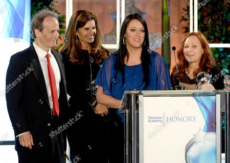 """Stock Photo of Nick Doob, from left, Maria Shriver, Katrina Gilbert and Shari Cookson accept a Television Academy Honors award for """"Paycheck to Paycheck: The Life and Times of Katrina Gilbert"""" at the 8th annual Television Academy Honors at the Montage hotel, in Beverly Hills, Calif"""