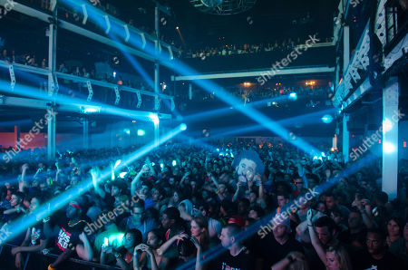 A packed house watches DJ/producer A-Trak performs in concert at Terminal 5, in New York