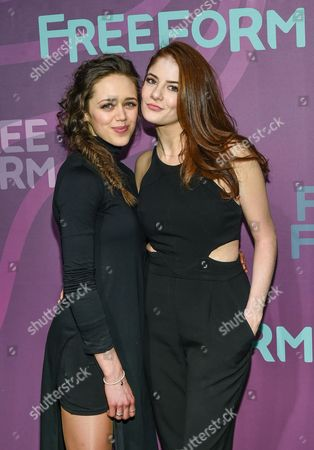 "Actors Daisy Head, left, and Emily Tremaine from ""Guilt"", attend the ABC Freeform 2016 Upfront at Spring Studios, in New York"