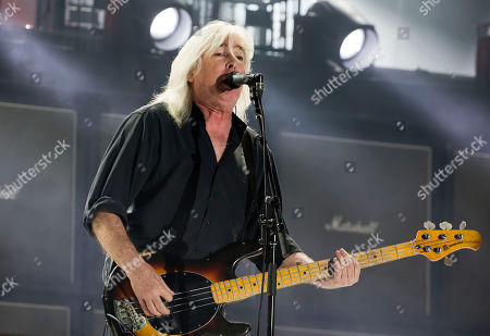 AC/DC's Cliff Williams performs during their Rock Or Bust World Tour at Gillette Stadium on in Foxborough, Mass