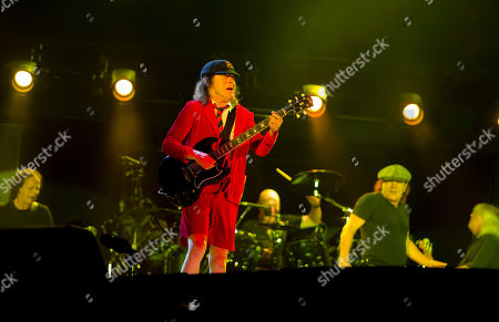 AC/DC, left to right, Stevie Young, Angus Young, Chris Slade, Brian Johnson, Cliff Williams perform during their Rock Or Bust World Tour at Gillette Stadium on in Foxborough, Mass