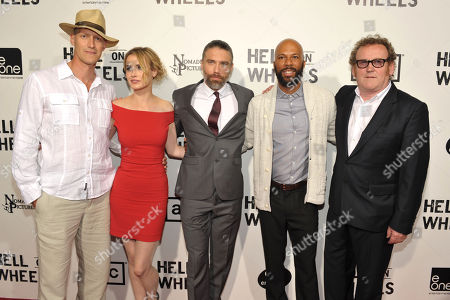 "Christopher Heyerdahl, Dominique McElligott, Anson Mount, Common, and Colm Meaney attend a special screening of the second season premiere of AMC's ""Hell on Wheels"" on in Beverly Hills, Calif"