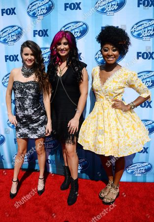 Kristen O'Connor, and from left, Jessica Meuse and Majesty Rose arrive at the American Idol XIII finale at the Nokia Theatre at L.A. Live, in Los Angeles