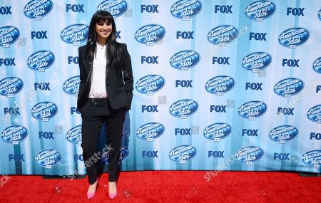 Jena Irene arrives at the American Idol XIII finale at the Nokia Theatre at L.A. Live, in Los Angeles