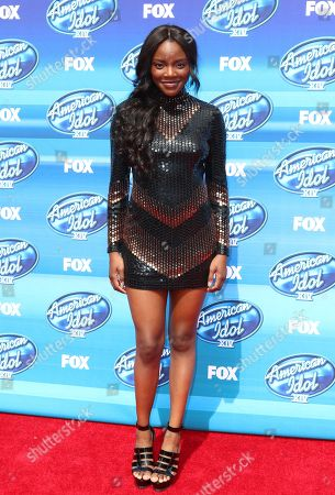 Adanna Duru arrives at the American Idol XIV finale at the Dolby Theatre, in Los Angeles
