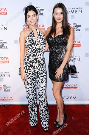 Victoria Justice, left, and Madison Justice arrive at An Evening with Women benefiting the Los Angeles LGBT Center held at the Hollywood Palladium, in Los Angeles