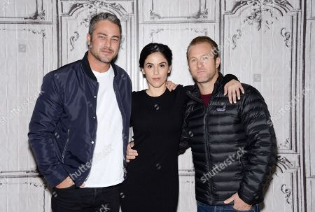 "Actors Taylor Kinney, from left, Leem Lubany and Scott Caan participate in AOL's BUILD Speaker Series to discuss the new film ""Rock The Kasbah"" at AOL Studios, in New York"