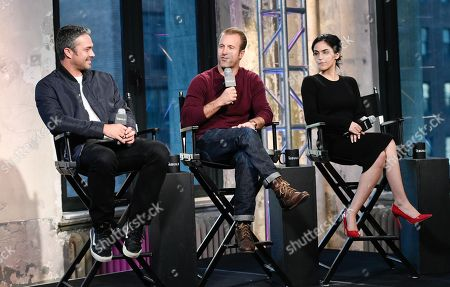 "Actors Taylor Kinney, from left, Scott Caan, and Leem Lubany participate in AOL's BUILD Speaker Series to discuss the new film ""Rock The Kasbah"" at AOL Studios, in New York"