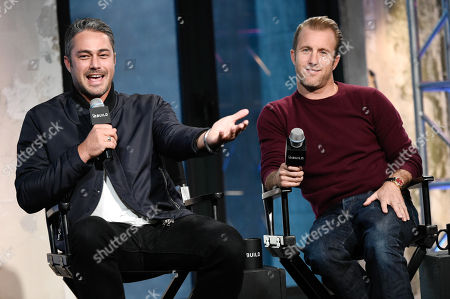 """Actors Taylor Kinney, left, and Scott Caan participate in AOL's BUILD Speaker Series to discuss the new film """"Rock The Kasbah"""" at AOL Studios, in New York"""