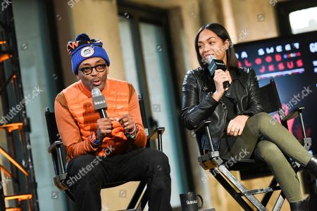 """Filmmaker Spike Lee, left, and actress Zaraah Abrahams participate in AOL's BUILD Speaker Series to discuss the new film """"Da Sweet Blood of Jesus""""? at AOL Studios, in New York"""