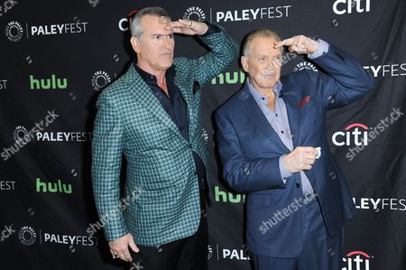 """Bruce Campbell, left, and Lee Majors attend the """"Ash vs Evil Dead"""" screening and panel discussion at the 2016 PaleyFest Fall TV Previews, in Beverly Hills, Calif"""