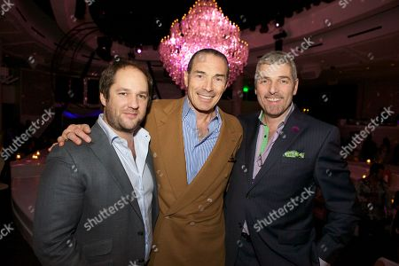 From Left Remi Laba, Alex Yemenidjian, Jonathan Segal at Bagatelle Las Vegas Grand Opening Party located adjacent to the New Tropicana Las Vegas on in Las Vegas