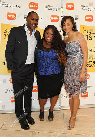 Richard Books (left), Raven Goodwin (center) and Latarsha Rose attend the Los Angeles screening of BET's Being Mary Jane at the Paley Center for Media, on in Beverly Hills, California