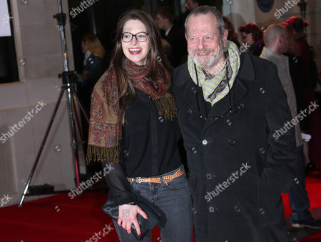 Terry Gilliam and daughter Holly Gilliam arrive on the red carpet for the opening night of 'The Book of Mormon' at The Prince of Wales theatre in central London
