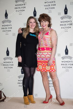 Laura Bates and Kathy Lette pose for photographers upon arrival at the Baileys Women's Prize for Fiction Awards Ceremony in London