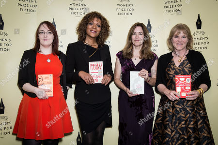 From left, Shortlisted novelists Lisa McInerney, Cynthia Bond, Elizabeth McKenzie and Hannah Rothschild pose for photographers during a photo call before the Baileys Women's Prize for Fiction Awards Ceremony in London