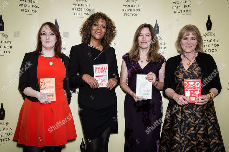 From left, Shortlisted novelists for the Baileys Womenâ?™s Prize for Fiction Award, Lisa McInerney, Cynthia Bond, Elizabeth McKenzie and Hannah Rothschild pose for photographers during a photo call before the Baileys Womenâ?™s Prize for Fiction Awards Ceremony in London