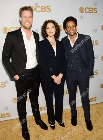Jake McDorman, left, Mary Elizabeth Mastrantonio and Hill Harper attend the CBS Network 2015 Programming Upfront at The Tent at Lincoln Center, in New York