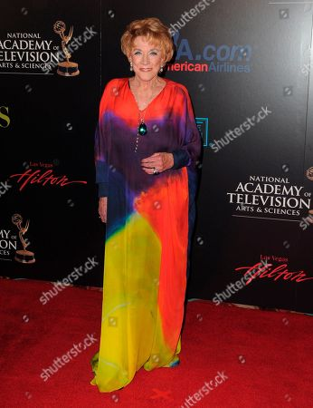 """Jeanne Cooper arrives at the 37th Annual Daytime Emmy Awards at Las Vegas Hilton in Las Vegas, Nevada. CBS says the soap opera star has died. She was 84. Cooper played grande dame Katherine Chancellor on CBS' """"The Young and the Restless"""" for nearly four decades"""