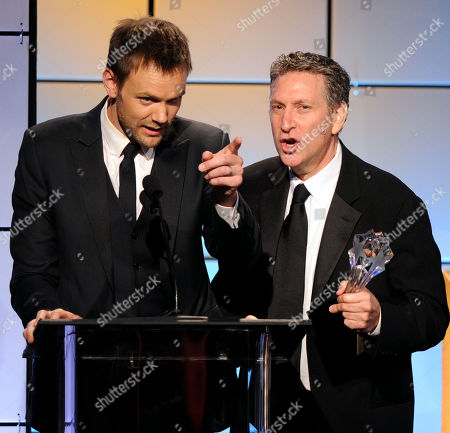 "Stock Photo of Joel McHale, left, and Russ Krasnoff accept the award for best comedy for ""Community"" onstage at the 2nd Annual Critics' Choice Television Awards at the Beverly Hilton Hotel on in Beverly Hills, Calif"
