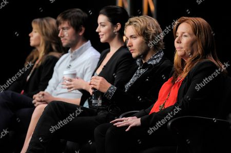 "From left, Megan Follows, Torrance Coombs, Adelaide Kane, Toby Regbo, and executive producer Laurie McCarthy participate in the ""Reign"" panel at the CW Summer TCA, at the Beverly Hilton hotel in Beverly Hills, Calif"