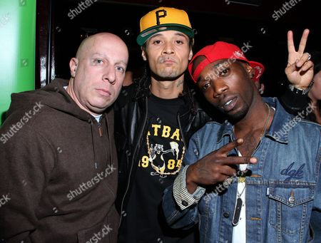 L-R) Manager Steve Lobel, rapper Bizzy Bone and pro skater Stevie Williams attend DGK Parental Advisory Premiere and Concert on Tuesday, December, 11th, 2012, at Avalonl in Hollywood, California