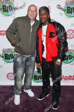 Talent manager Steve Lobel (L) and recording artist Iyaz arrive at Elizabeth Stanton's 18th birthday benefiting Toys for Tots at Belasco Theatre on in Los Angeles