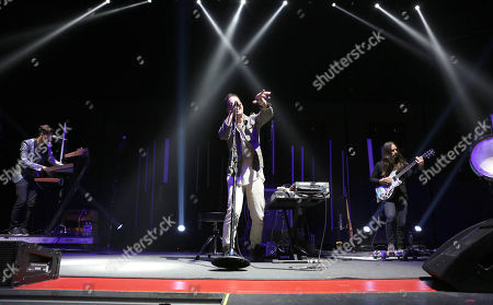 Paul Meany, Darren King, Roy Mitchell-Cárdenas and Todd Gummerman with Mutemath performs as the opener for Twenty One Pilots during the Emotional Roadshow World Tour at the Infinite Energy Center, in Atlanta