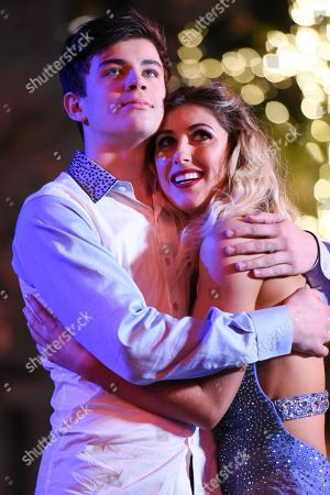"""Hayes Grier, left, and Emma Slater onstage during the finale of """"Dancing With The Stars"""" held at The Grove, in Los Angeles"""