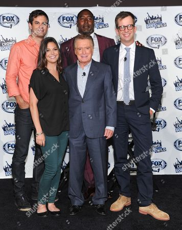 """Co-hosts of the new FOX Sports 1 talk show """"Crowd Goes W!ld"""", from left, Michael Kosta, Katie Nolan, Regis Philbin, Trevor Pryce and Jason Gay participate in a press conference on in New York"""