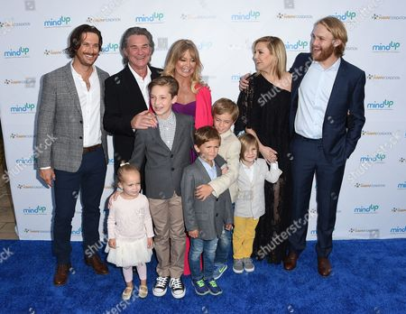 Stock Image of Oliver Hudson, from back row left, Kurt Russell, Goldie Hawn, Kate Hudson and Wyatt Russell, and from front row left, Rio Hudson, Ryder Robinson, Bodhi Hawn Hudson, Wilder Brooks Hudson and Bingham Hawn Bellamy arrive at Goldie's Love In For Kids, in Beverly Hills, Calif