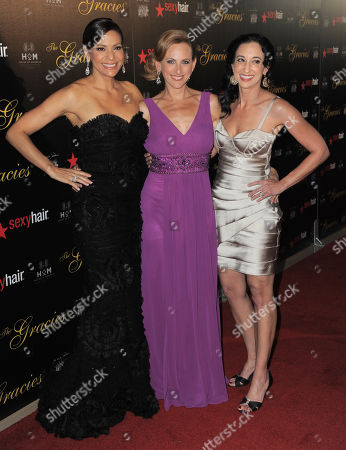 Actresses Constance Marie and Marlee Matlin and writer Lizzy Weiss arrive at the Gracie Awards Gala on in Los Angeles, Calif