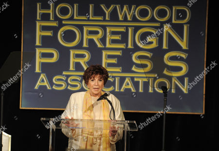 Stock Image of Aida Takla-O Reilly speaks at the Hollywood Foreign Press Association luncheon at the Beverly Hills Hotel, in Beverly Hills, Calif
