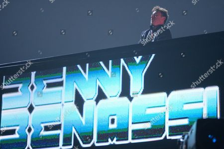 This photo shows Benny Benassi performing at the iHeartRadio Music Festival in Las Vegas, Nev