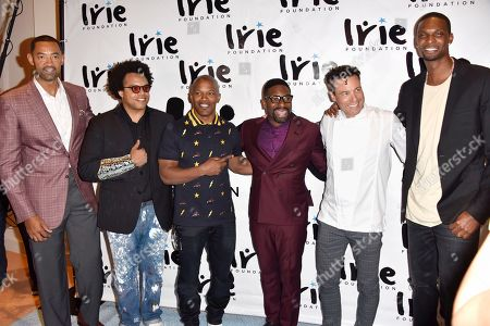 Juwan Howard, from left, ELEW, Jamie Foxx, DJ IRIE, Rocco DiSpirito and Chris Bosh attend the InspIRIE Dinner Gala at the Sherborne Wyndham Grand South Beach, in Miami Beach, Fla