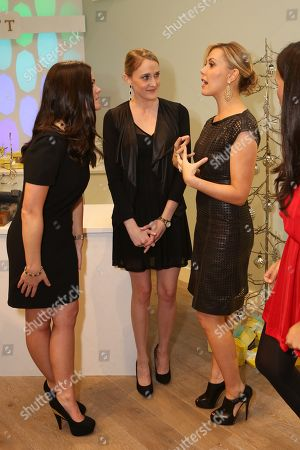 From left, Leslie Fearka, Jill Kerr and Kendra Scott talk during the Luxe Party at the Kendra Scott Fashion Island Boutique, in Newport Beach, Calif