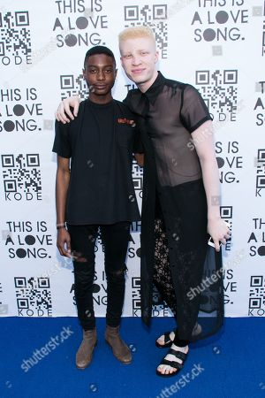 Shamari Maurice, left, and model Shaun Ross arrives at the KODE 6 Party held at The Standard, in West Hollywood, Calif