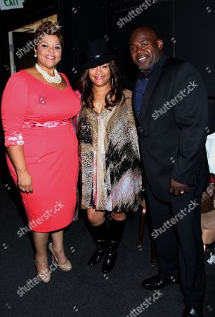 L-R) Honoree, Gospel singer and actress Tamela Mann, Simone Smith and David Mann backstage at LA Focus 15th Annual First Ladies High Tea at Beverly Hilton Hotel, in Bevrly Hills, California