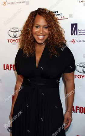 """Honoree Trecina """"Tina"""" Atkins-Campbel of Gospel duo Mary Mary arrives at LA Focus 15th Annual First Ladies High Tea at Beverly Hilton Hotel, in Bevrly Hills, California"""