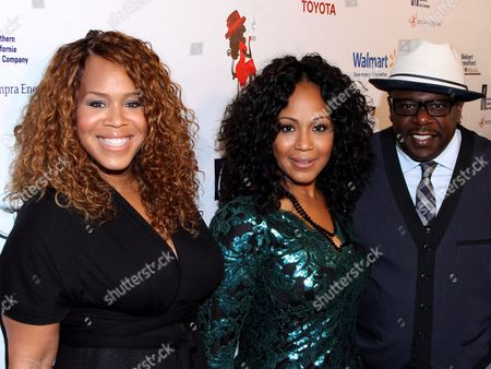 """L-R) Honorees Trecina """"Tina"""" Atkins-Campbell, Erica Atkins-Campbell of Gospel duo Mary Mary and Cedric the Entertainer attend LA Focus 15th Annual First Ladies High Tea at Beverly Hilton Hotel, in Bevrly Hills, California"""