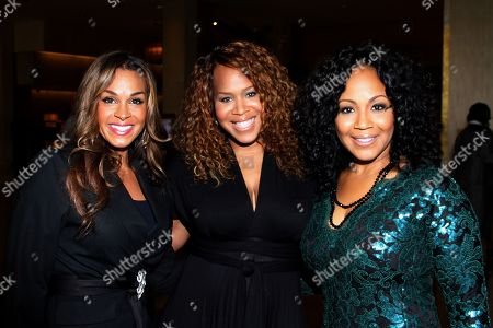 """L-R) First Lady Sheree Fltcher, honorees Trecina """"Tina"""" Atkins-Campbell and sister Erica Atkins-Campbell of Gospel duo Mary Mary attend LA Focus 15th Annual First Ladies High Tea at Beverly Hilton Hotel, in Bevrly Hills, California"""